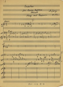 Handwritten score, Concertino for Kanun (Qanun), English Horn, Clarinet, Strings and Percussion