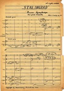 Stalingrad score, handwritten by Marc Lavry