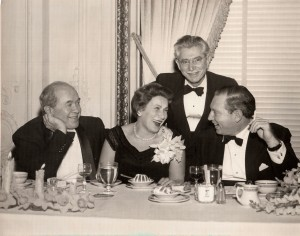 Marc and Helena Lavry at a party with violinist Isaac Stern and cantor Ruben Rinder in San Francisco (1955)