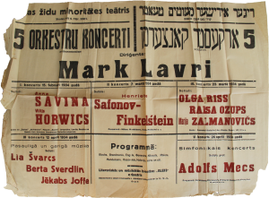 The Jewish Minority Theater of Riga Five Orchestral Concerts Marc Lavry, Conductor March 1934