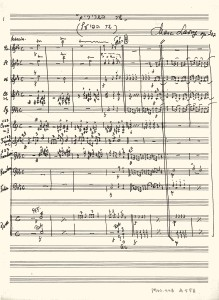 Score, in Marc Lavry's original handwriting, for Shir Hashririm for Symphonic Band